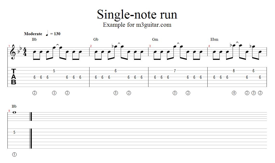 M3 Guitar 20 Single Note Pentatonic Runs Root Movement Four